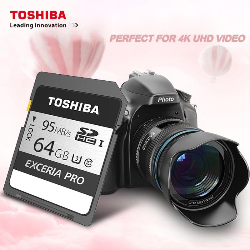 100% Original TOSHIBA EXCERIA PRO cartão de memória até 95 N401 MB/s 32GB 10 64GB classe cartão sd para a câmera SLR