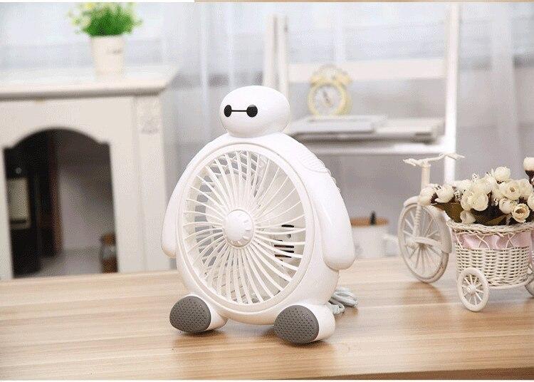 ФОТО Portable Mini Desk Fan Creative Home Office ABS Electric Fans Silent Desktop Fan With Cute BayMax Style Care your Summur