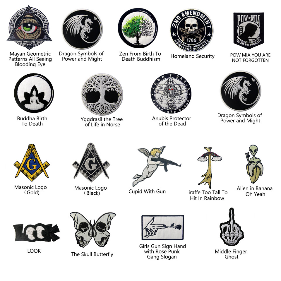 Embroidered Patches Iron Sew On transfers Applique Badge Emblem Anubis Protector