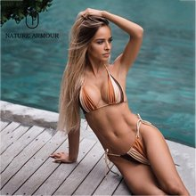Leopard Thong Micro Bikini Women Swimsuit Brazilian Bikinis Set Bathing Suit Beach Maillot De Bain Monokini Swimwear Women(China)