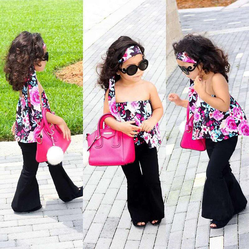 Комплект из 3 предметов для детей 1-6 лет, летняя одежда для девочек,  укороченный ... cc12af6438f