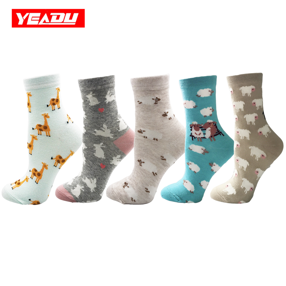 YEADU 5 Pairs/lot Multicolor Cute Cotton Women's Socks Funny Cartoon Sheep Rabbit Giraffe Japan Style Christmas Sock for Girl