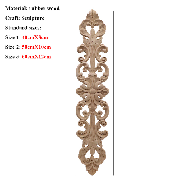 Unpainted Wood Oak Carved Wave Flower Onlay Decal Corner Applique for Home Furniture Decor Decorative Wood Carved Long Applique 5