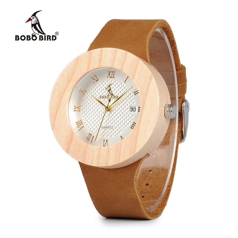BOBO BIRD WC06 2017 montres en bois de pin rond Vintage montres à Quartz de conception de marque de luxe pour femmes avec calendrier dans des coffrets cadeaux OEM