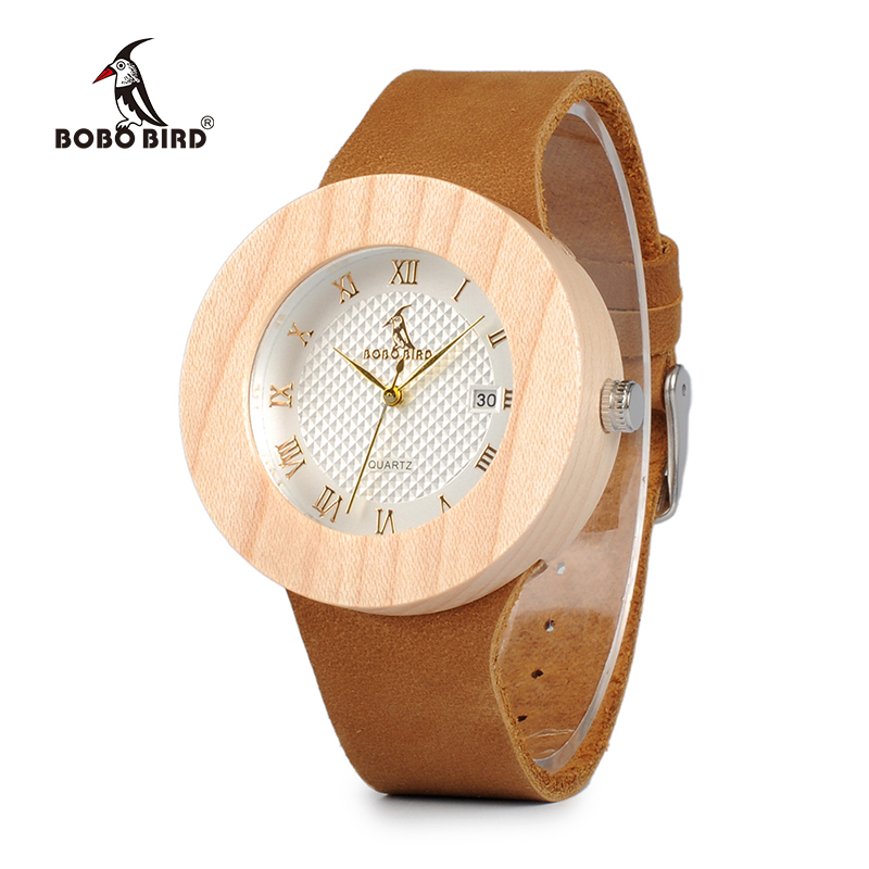 BOBO BIRD WC06 Vintage Round Pine Wooden Watches Ladies' Luxury Brand Design Quartz Watches With Calendar In Gift Boxes OEM