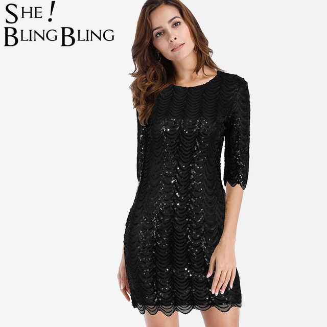 SheBlingBling All Over Sequins Embroidery Women Mini Dress Summer Fashion  Bodycon Dress Zip-Back Scallop d2e89d158d87