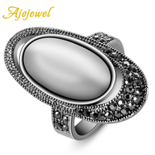 Hot Selling Ajojewel Brand Fashion Accessories Ancient Way Retro Vintage Black CZ White Opal Jewelry Rings For Women