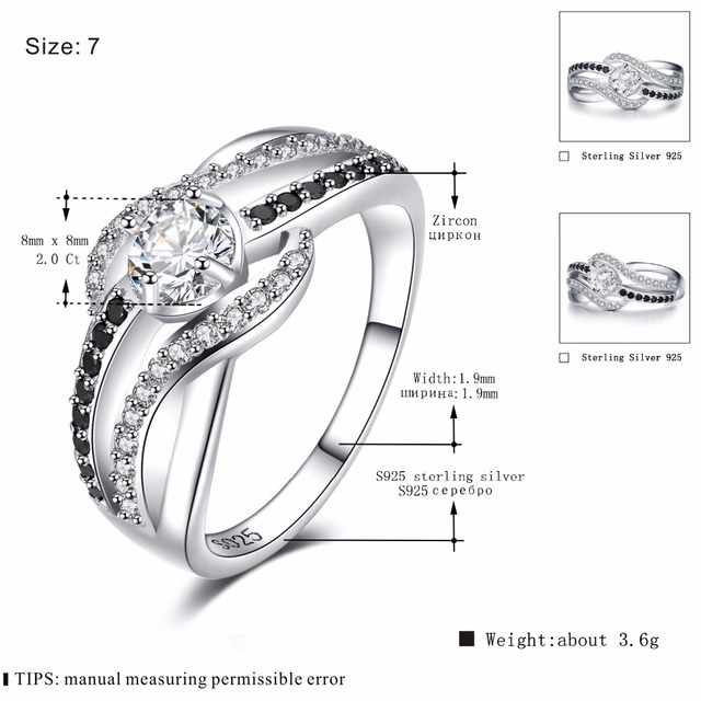 [BLACK AWN] Fine 3.5G Genuine 925 Sterling Silver Jewelry Trendy Engagement Rings for Women Wedding Ring C047 1