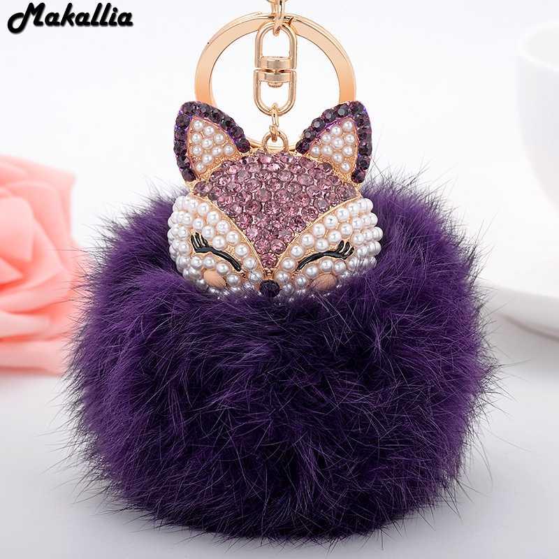 Real Rabbit Fur Ball Keychain for Handbag Car Key Ring Cute Fox Inlay  Simulated Pearl Pendant e1846db1d