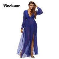 Yizekoar nieuwe collectie Trendy 2017 lente Mode lange mouwen chiffon Shimmer Mokka Slit Godin Sexy slit Maxi DL61198