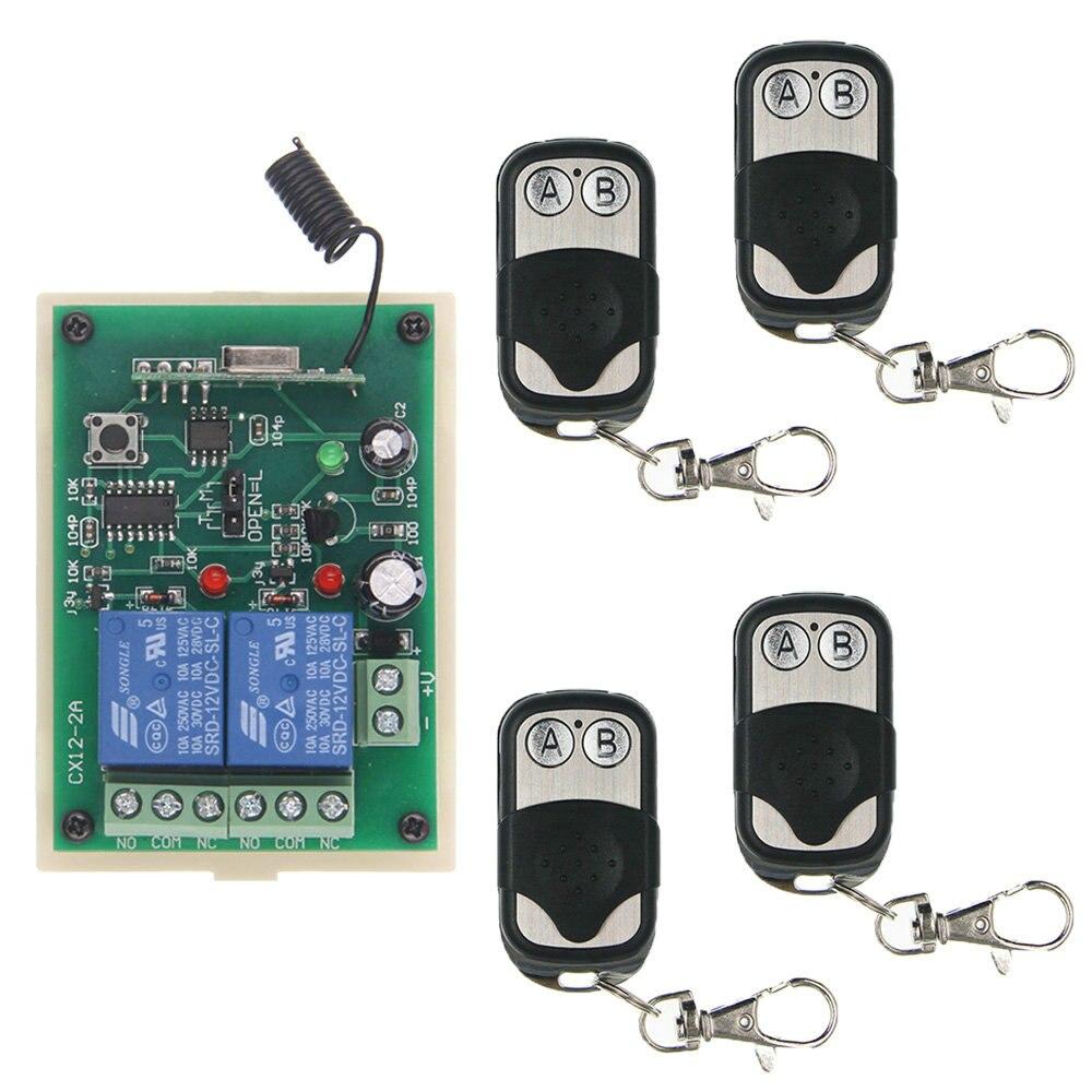 DC 12V 24V 2 CH 2CH RF Wireless Remote Control Switch System,315/433 MHz (4X Metal Frame Transmitters +1 Receiver),Jog