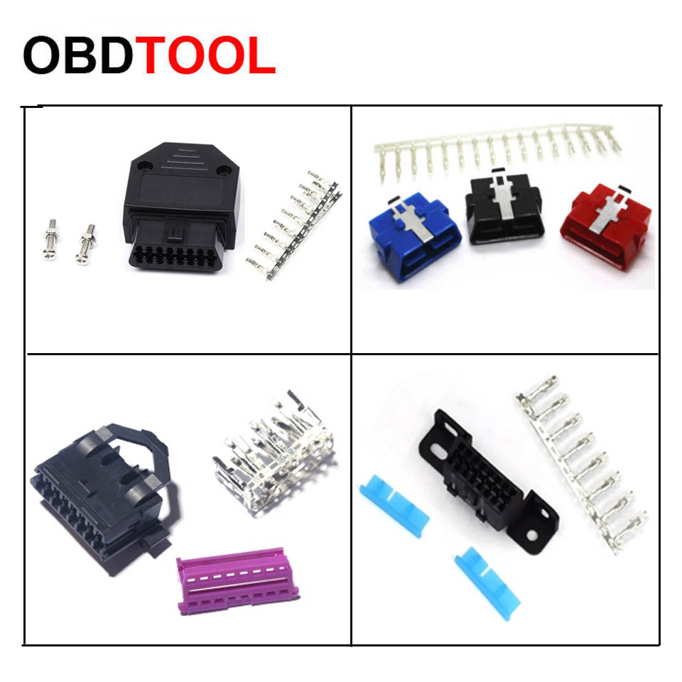 ObdTooL OBD 16PIN Female Male Connector With 16 Terminals OBD2 Socket Plug Diagnostic Interface Car Assembly Parts Adapter