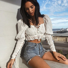 Elegant Off Shoulder Lace Up Women Cropped Blouse Shirt Summer High Waist Ladies Long Sleeve Tops Streetwear White Crop Top 2019 side lace up cropped long sleeve top