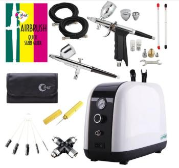 OPHIR Professional Air Compressor Kit 2 Airbrush Compressor Kit Dual Action Spray Airbrush Set For Facial care body paint AC057 eu plug dual action mini airbrush with compressor cake decoration 100 250v with airbrush cleaning set and mini air filter
