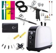 OPHIR Professionelle Luft Kompressor Kit 2 Airbrush Kompressor Kit Dual Action Spray Airbrush Set Für Gesichts pflege körper malen AC057
