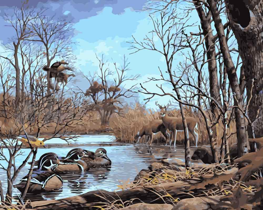 MaHuaf-j507 Ducks  and deer by lake DIY oil paintings by numbers on canvas wall art animal picture for bedroom decoration