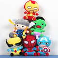 6pcs/lot 18cm superhero The Avengers Plush toys doll Captain America Iron Man SpiderMan Thor Hulk Plush Toy