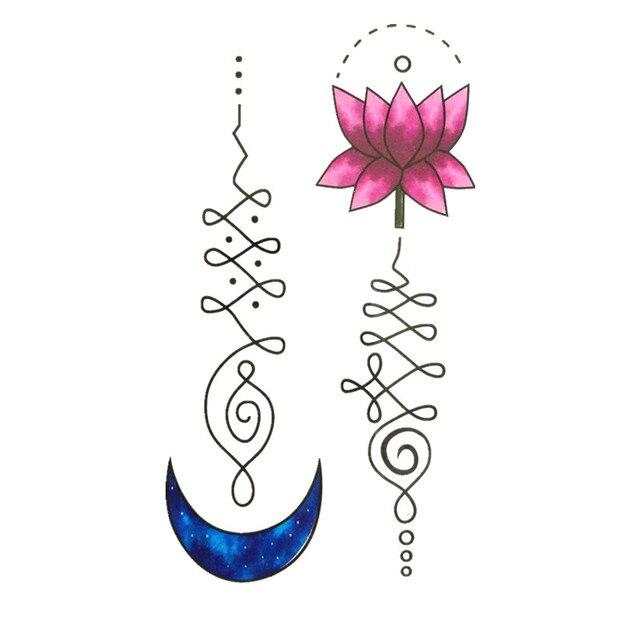 Impermeable Temporal Tatuaje Pegatinas Acuarela Luna Azul Loto Rosa