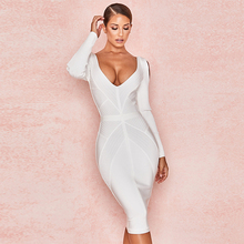 Boussac Dress Autumn New Fashion Knee Sexy Deep V Shoulder Pack Hip Party Comfortable Long-Sleeved Bandage Bodycon vestido