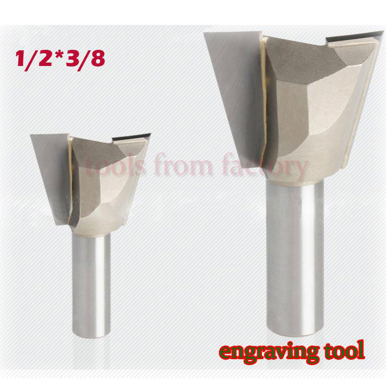1pc 1/2*3/8 Woodworking cutter Dovetail milling cutter CNC engraving tool gong cutter 1/2 Shank 10pcs box 1 8 inch 0 8 3 17mm pcb engraving cutter rotary cnc end mill 0 8 1 0 1 2 1 4 1 6 1 8 2 0 2 2 2 4 3 17mm