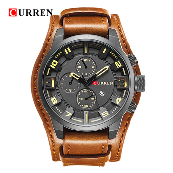 Luxury Big Leather Strap Quartz Wrist Watch