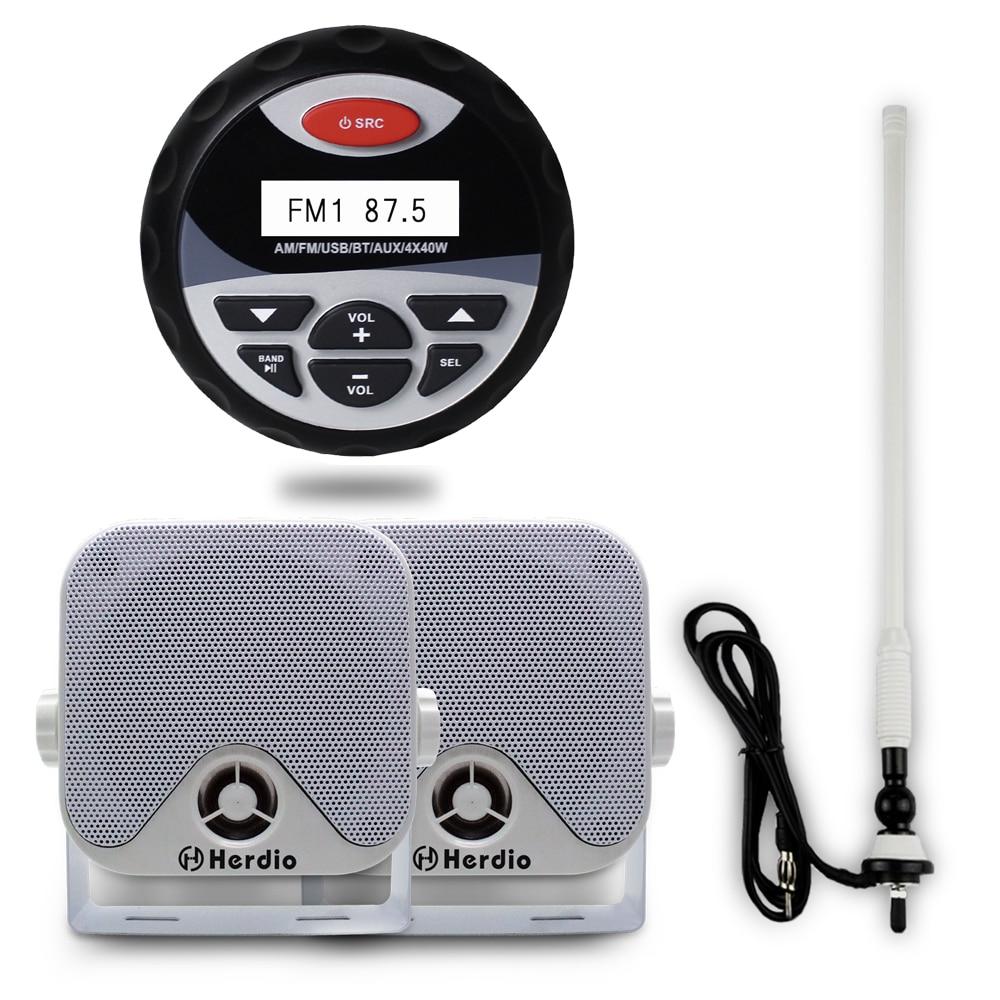 Motorcycle Bluetooth Stereo Audio Boat FM AM Radio USB MP3 Player Music 4 Marine Waterproof Outdoor
