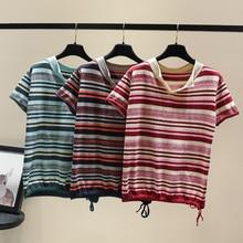Drawstring Knit T-shirt Women Summer Clothing Korean Ulzzang Harajuku Striped Short Sleeve T-shirts Woman Silk Basic Shirt Top christian and religious poems