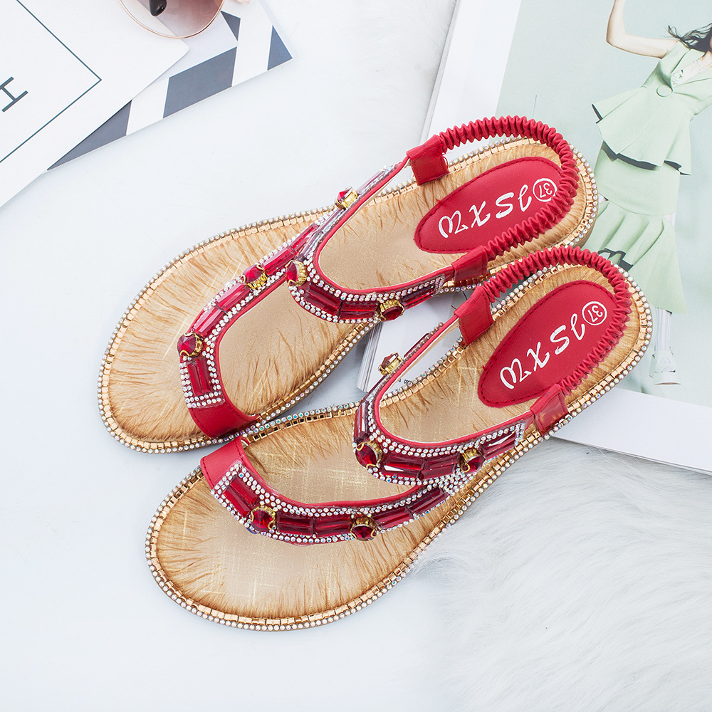 Image 3 - Gykaeo Ladies Summer Shoes Bohemian Style Blue Red Fashion Sandals Women Lattice Stripe Flat soled Beach Shoes Zapatos De Mujer-in Women's Sandals from Shoes