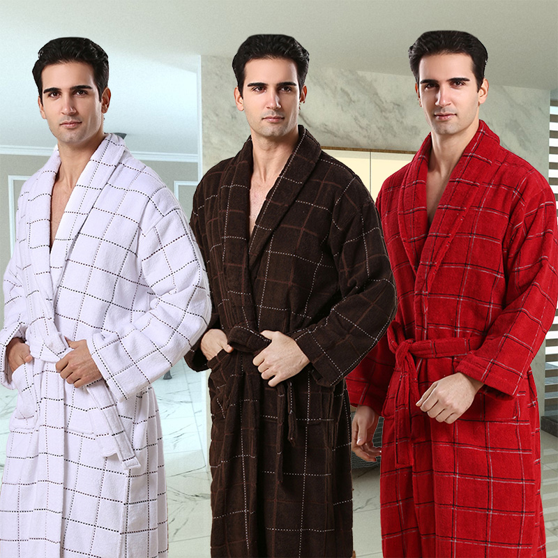 AZO Free Terry Cotton Toweling Night Gown,men Sleepwear Men Bathrobe Hot Sale