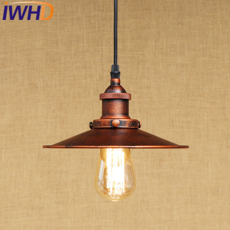 IWHD Iron Hanglamp Loft Industrial Pendant Lights Rusty color Retro Hanging Lamp Kitchen Dining Lighting Fixtures Lamparas iwhd gold iron style loft industrial vintage pendant lights retro birdcage hanging lamp kitchen dining room luminaire suspendu
