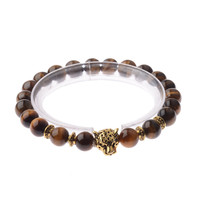 New Fashion Gold Color Leopard Head Bead Buddha Bracelets Stone Lava Matte Tiger Eye Men and Women Jewelry AB172