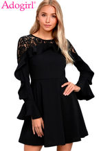 (Ship from US) Adogirl Lace Patchwork Ruffle Long Sleeve Skater Dress  Fashion Women Fit Flare Mini Prom Party Dresses Cheap Casual Vestidos 678578756615