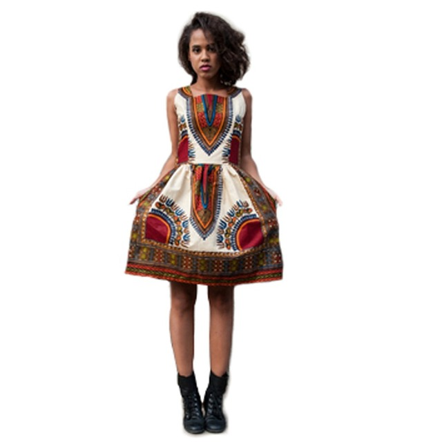 52ec7c865cb 2016 Hot Sell Women Summer Dashiki Dress Sexy without Sleeves Ladies  African Print Dresses Short Vintage Bodycon Dress Clothing