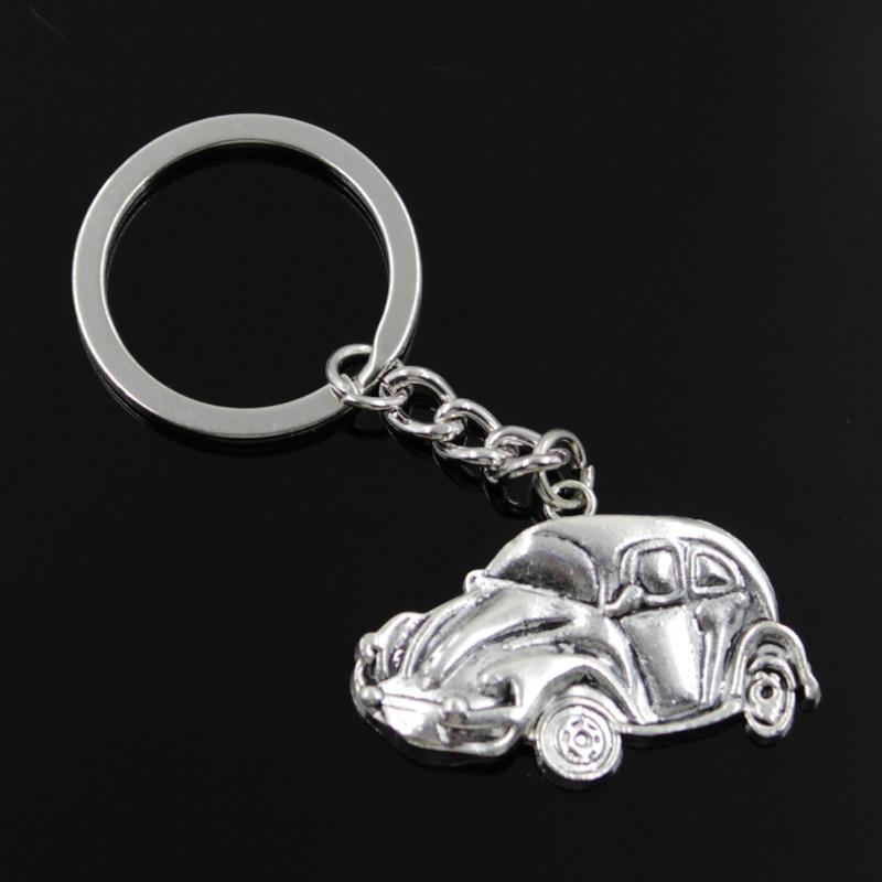 New Fashion Men 30mm Keychain DIY Metal Holder Chain Vintage Car 39x26mm Silver Pendant Gift