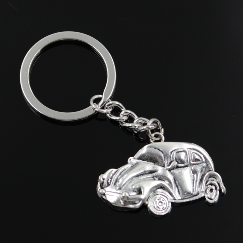 new fashion men 30mm keychain DIY metal holder chain vintage car vw bug beetle herbie 39*26mm antique silver pendant