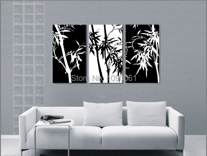 Hand painted black white canvas painting 3 pieces modern abstract lucky bamboo canvas art sets for home decor picture unframed in painting calligraphy