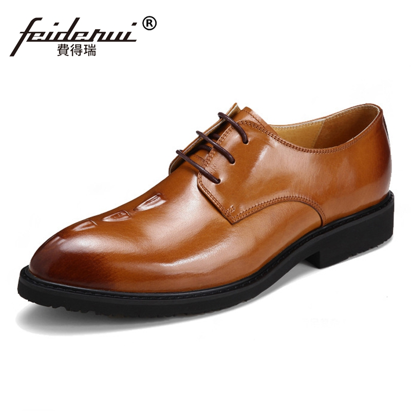 2018 Luxury Genuine Leather Man Formal Dress Wedding Shoes Alligator Pattern Round Toe Banquet Party Mens Derby Footwear SS69