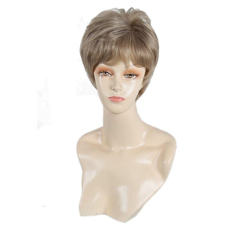 Kvinnlig Charmig Kort Rett Syntetisk Paryk för Svarta Kvinnor Blond - Syntetiskt hår - Foto 4