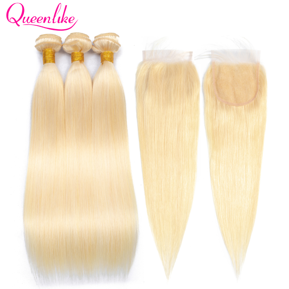 Queenlike Color 613 Human Hair Bundles With Lace Closure Remy Brazilian Hair Weave Bundles Honey Blonde