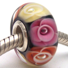 JG1121 100% S925 Sterling Silver Beads Murano Glass beads Fit European Charms Bracelet charms diy jewelry Lampwork GlassBeads