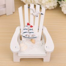 Wood Decoration Mediterranean Style Wooden mini Beach chair Nautical Decor Home Decor prop wedding decoration Wholesale 1PC(China)