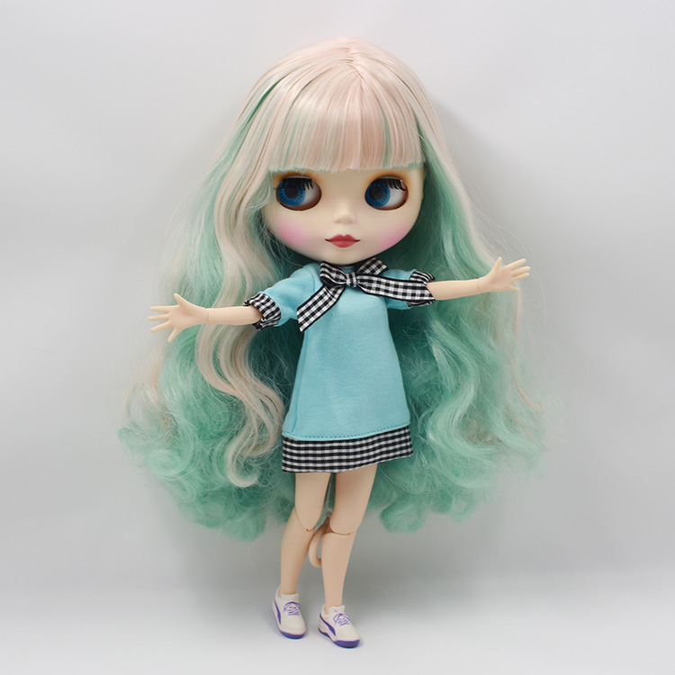 Beaukiss Nude Blyth joint body doll model matte face green powder color long hair doll toys for girls часы nixon corporal ss matte black industrial green