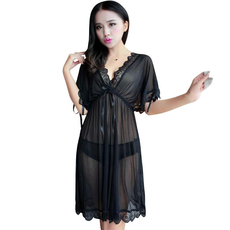 Women sexy Nightgowns lace Sleeping Dress Camisole Sleepshirts Short sleeve  Nightgown Big size Plus Size M L 85ed9827c