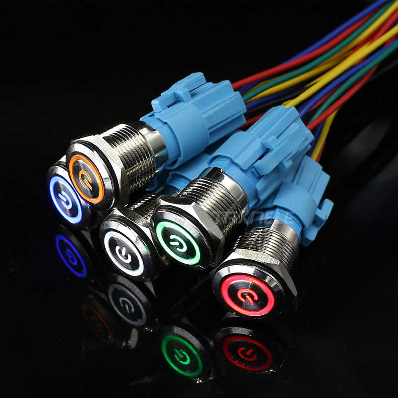 16mm red blue yellow green Auto Metal Push Button Switch power lamp 16mm led latching momentary light  switch 12V 24V 110V 220V