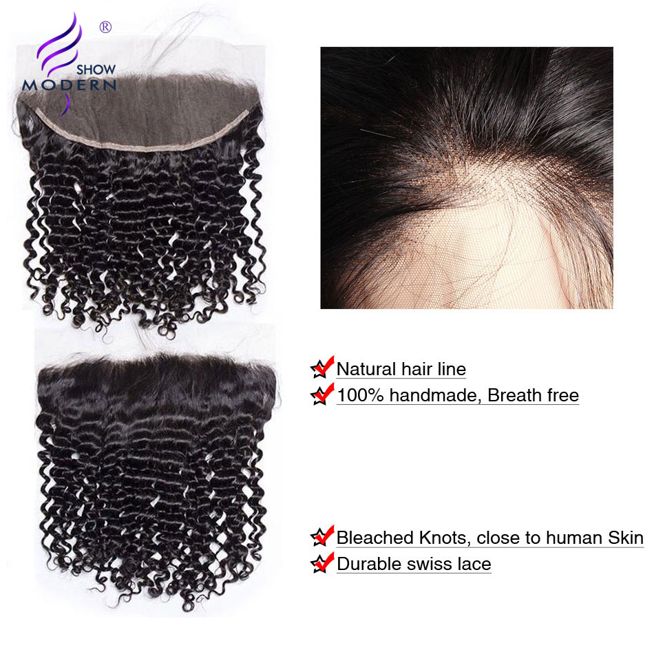 Modern Show Peruvian Kinky Curly Hair Bundles With Frontal Closure Weaves Human Hair 3 Bundles With Closure Non Remy hair 4 PCS