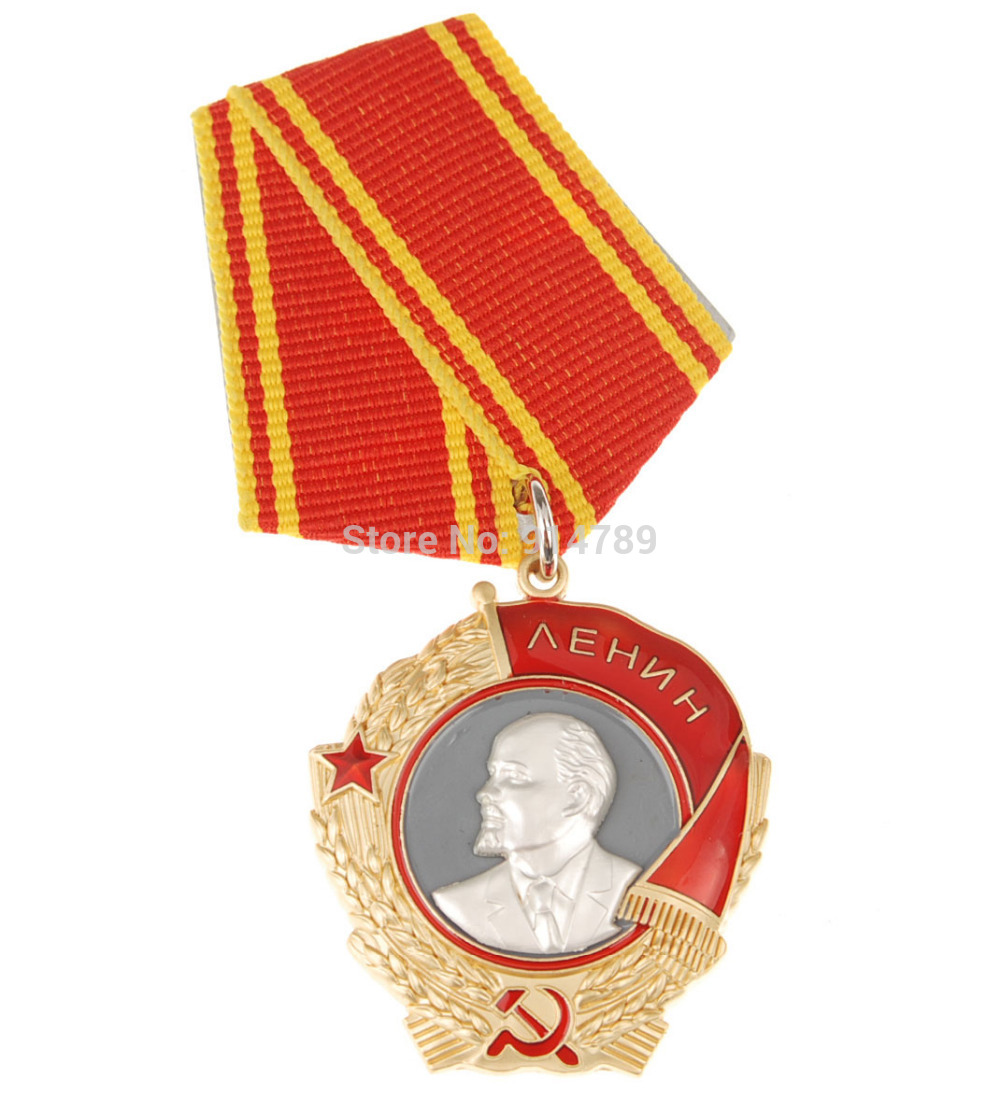 WWII RUSSIAN SOVIET UNION CCCP ORDER OF LENIN MEDAL BADGE WITH RIBBON 34049