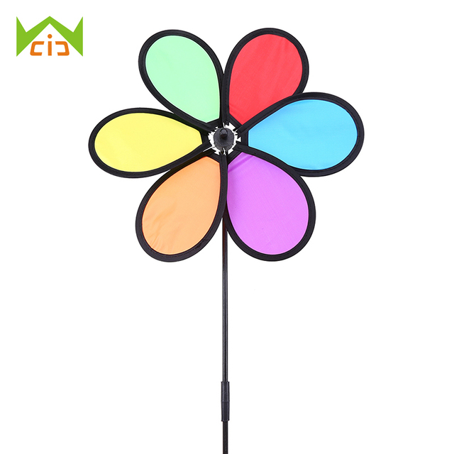 Wcic Wind Windmill Kids Toys Spinner Toy Garden Yard Outdoor Decoration Ornament Daisy Flower