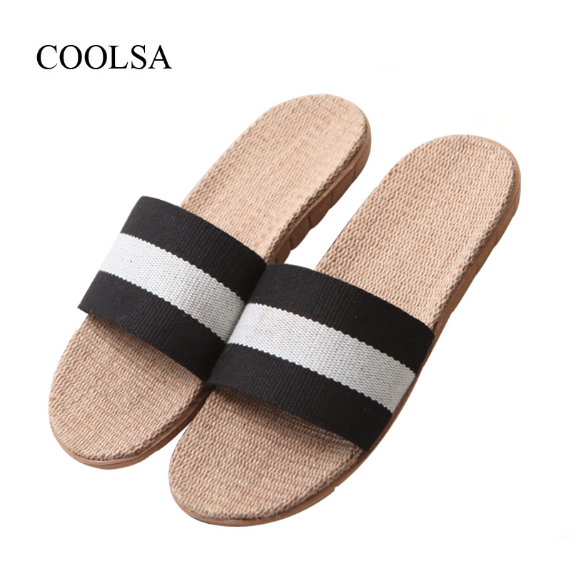 COOLSA Men's Spring Striped Linen Slippers Non-slip Flat Flax Slippers Fashion Beach Flip Flops Hemp Flat Home Slippers Slides coolsa women s summer flat non slip linen slippers indoor breathable flip flops women s brand stripe flax slippers women slides