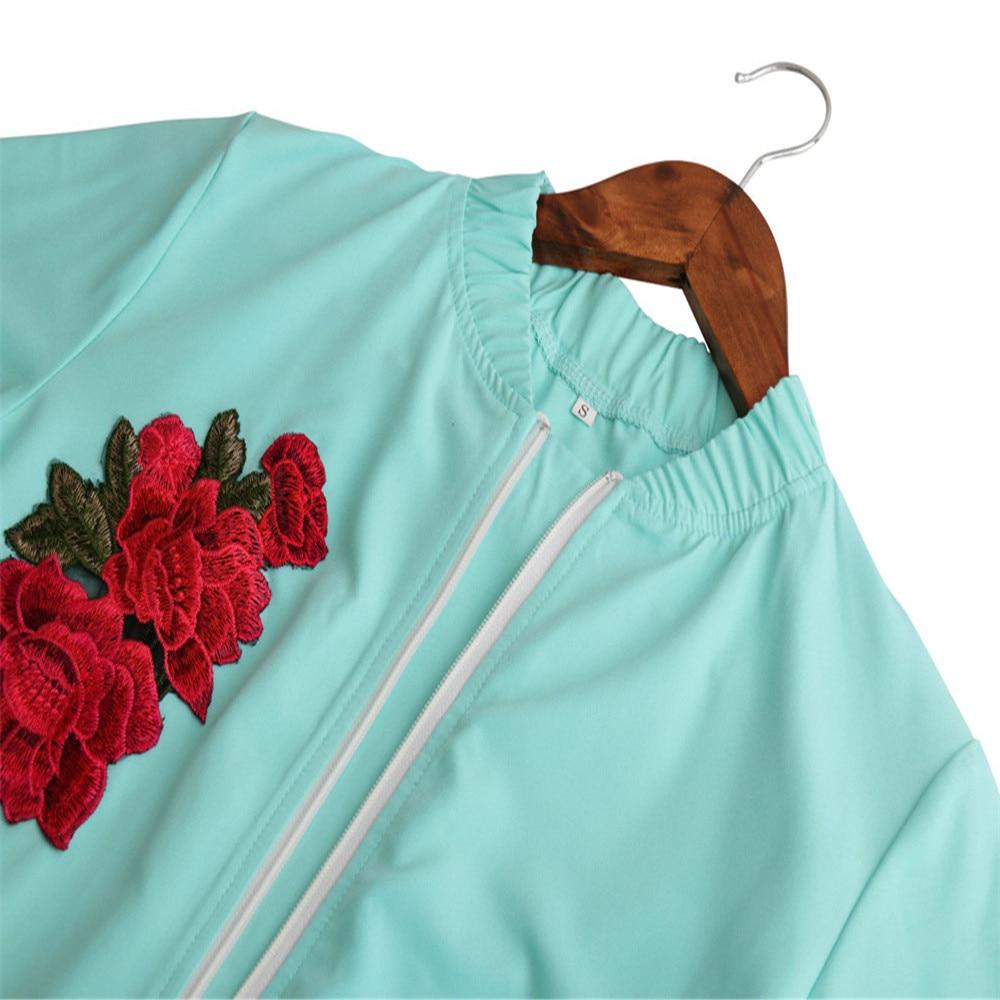 US New Design Womens Autumn Fashion Style Slim Long Sleeve Print Embroidery Sweatshirt Shirt Casual Zipper Tops Coat Outwear