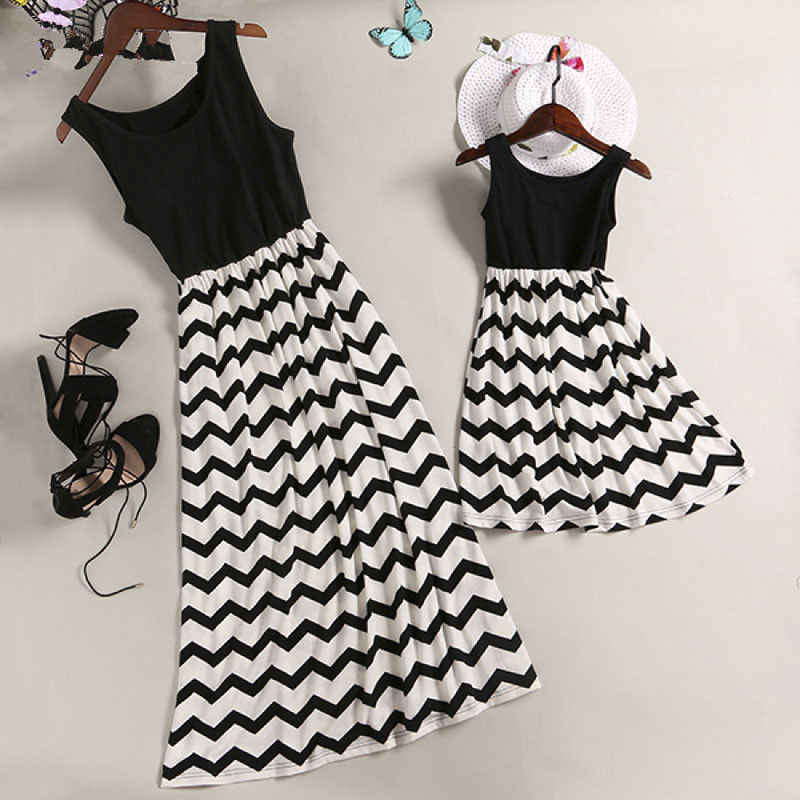 2018 Summer Mother and Daughter Sleeveless Casual Loose Stripe Long Maxi Dress Mom&Kid Matching Fashion Clothes